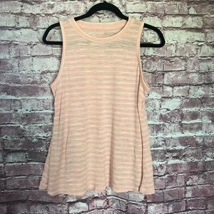 24/7 Maurice pink athletic striped tank large